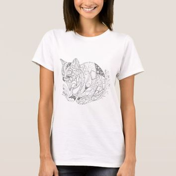 Colorable Cat Abstract Art Drawing for Coloring T-Shirt