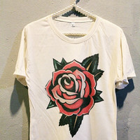 Old School Flower Tattoo T-Shirt Tee Shirt Women T Shirts Off White TShirt Size L