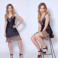 Vintage 90s BETSEY JOHNSON Black Slip Dress Lace SILK Slip Embroidered Slip Dress Lace Mini Dress