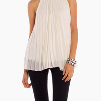 Pleated Neck Hugging Blouse in White