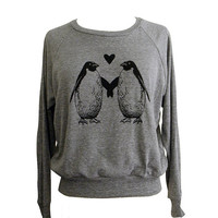 Penguin Love Raglan Sweatshirt American Apparel SOFT vintage feel