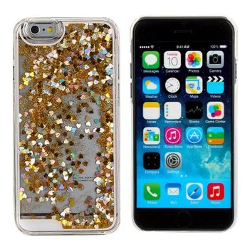 "Case for iPhone 6S Plus,Cover for iPhone 6S Plus,Case for iPhone 6S 5.5 inch,Hard Case for iPhone 6S 5.5"",ikasus(TM) Pink Love Hearts Novelty Creative Design Flowing Shiny Bling Powder Clear Hard Case for Apple iPhone 6S (5.5inch)"