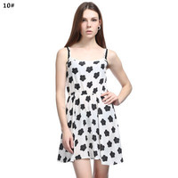 SIMPLE - Popular Women's Fashionable Floral Sleeveless Chiffon Spaghetti Strap Party Beach Summer Dress b3046