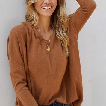 Luxe V-Neck Sweater - Camel