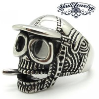 Baseball Cap Skull Ring Smoking a Cigar (354)
