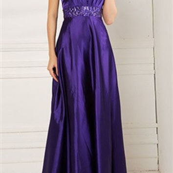 Pleated Halter Neck Evening Dress With Beading Waist