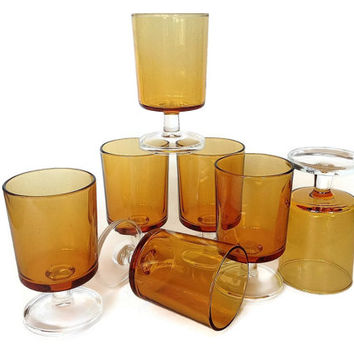 Mid Century Luminarc Cordial Set, Yellow Stemware, Amber Glass Aperitif, Wine Glasses