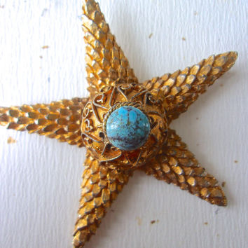 Starfish Turquoise Art Glass DeNICOLA Brooch, Gold Tone Texture, Vintage