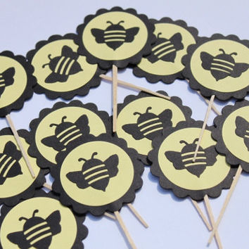Bee Cupcake Toppers- Baby Shower, Birthday Party, Set of 12