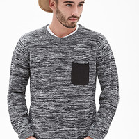 Marled Contrast-Pocket Sweater Black/White