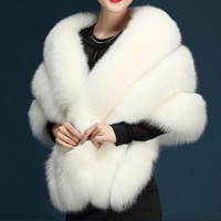 Ivory Faux Fur Wrap Evening Stoles And Wraps Faux Fur Shrug Wedding Jacket Bolero Wedding Bolero Bridal Winter Coat In Stock