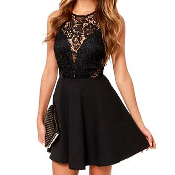 Women Fashion Sleeveless Lace Dress V Back Party Dresses Hollow Out Black Mini Dress