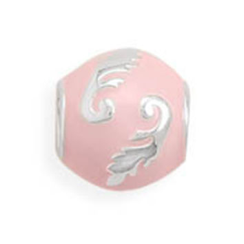 Pink Enamel Bead with Swirl Design
