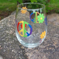 Peace Signs Hippie hand painted stemless wine glass