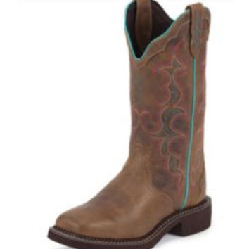 Justin Ladies Gypsy Square Toe 12 IN Tan Jag Boots