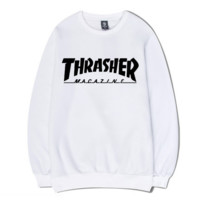 White Thrasher Magazine Flame Print  Long Sleeve Sportswear Pullover