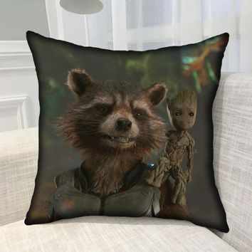 Guardians of the Galaxy Vol. 2 Cute  Rocket Raccoon Mascot Printed Bolster Cute Baby Groot Pillows Printed Bolster