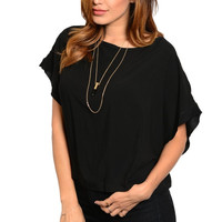 Lace String Accent Center Back Poncho Style Top
