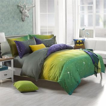 Magical Colorful Dream Star Bedding Set Polyester Fiber Quilt Duvet Cover Bed Sheet Pillowcase Single Double Queen King Size