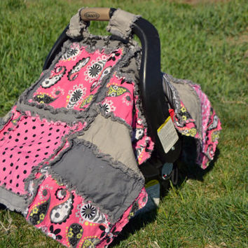 CAR SEAT TENT, Pink, black, gray, modern Paisley and Polka Dot Cover for a Canopy on a Car Seat, Made to Order