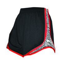 Womens Split Shorts black with red and zebra sides