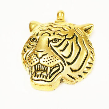 3 Tiger Charms, Antique Gold tone Tiger Mascot Charms, School Mascot Charms, Animal Charms, Cat Charms, Jewelry Making Supplies, Keychain