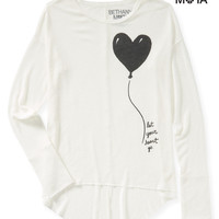 Aeropostale  Womens Long Sleeve Heart Balloon Hi-Lo Knit Top