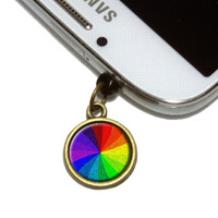 Rainbow Swirl Gay and Lesbian Mobile Phone Brass Charm
