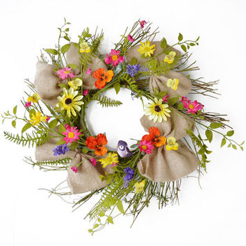 Pansy and Daisy Twig Wreath with Burlap Ribbon | Wayfair