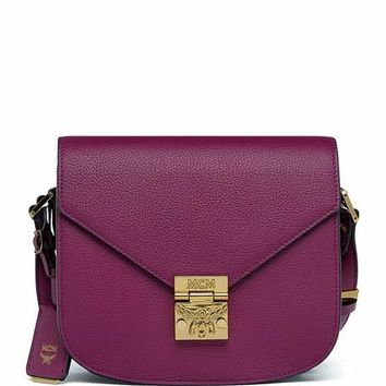MCM Patricia Small Leather Crossbody Bag, Purple