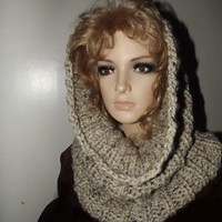 Chunky Long Rib Cowl- Oatmeal Tweed Cream Tan Neutral Hood