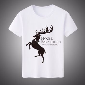 Game of Thrones Ours is the Fury House Baratheon Printed Unisex T Shirt T-Shirt 2017 New O Neck Milk Silk Tee Camisetas Hombre