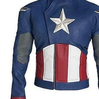 CAPTAIN AMERICA CHRIS EVANS STEVE ROGERS BIKER Faux LeatherJacket