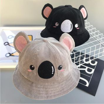 2018 Winter Children Bucket Hat Unisex Cartoon bear ears  kids Bob Caps Hip Hop Gorro boys girls Sun Fishing panana Bucket Hat