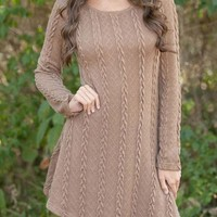 Fashion Twist Weave Round Neck Long-sleeved knitted Thickening Sweater Dress