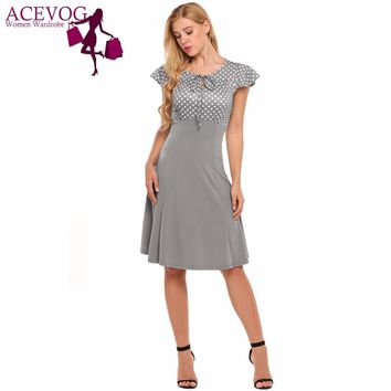 ACEVOG Vintage Dress Women Summer Lace-up Classic Cap Sleeve Polka Dot A-Line Swing Dresses Party Femme Robe Vestidos Mujer