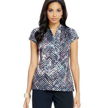 Preston & York Tina Geometric-Print Knit Blouse | Dillards