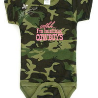 Baby Girls Embroidered Bodysuit - Shh... I'm Hunting Cowboys -Baby Shower Gift - Creeper - Camo - Camouflage - Pink - Cowgirl