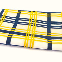 Long Retro Vintage Scarf . Stripe Print Scarf . Oblong Scarf .  Mod Scarf . White, Blue and Yellow Scarf .