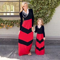 Mom & Me Girls Long Sleeve Black & Red Maxi Dress