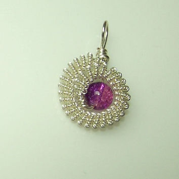 Wire Wrapped Pendant With Purple Crystal Bead And Silver Plated Wire, Bead Setting