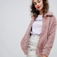 New Look Teddy Faux Fur Bomber Jacket at asos.com