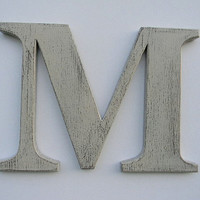 "Wooden Letter Rustic Wall Hanging Letter M 12"" Painted Weathered Butter Cream Distressed Style"