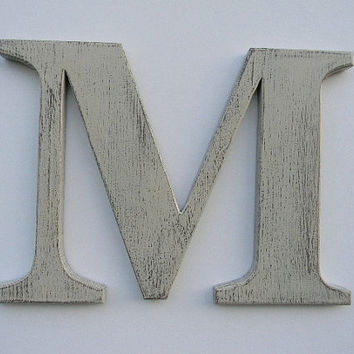 wooden letter rustic wall hanging letter m 12 painted weathered butter cream distressed style