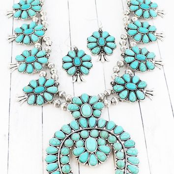 TURQUOISE STONE SQUASH BLOSSOM NECKLACE AND EARRING SET