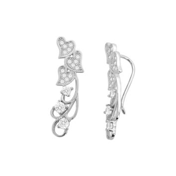 Sterling Silver Ear Cuff Floating Hearts Design Cartilage Piercing