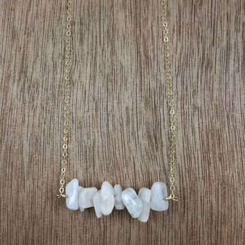 14k gold filled moonstone chip bead bar necklace / bridesmaid necklace / dainty necklace / minimalist necklace / June birthstone