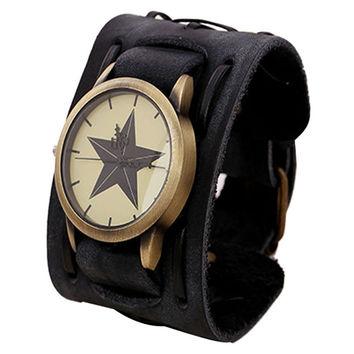 Superior New Style Retro Punk Rock Brown Big Wide Leather Bracelet Cuff Men Watch Cool June9