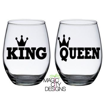 KING and QUEEN BLACK Stemless Wine Glasses (SET OF 2)- BLACK 21 OZ STEMLESS WINE GLASSES