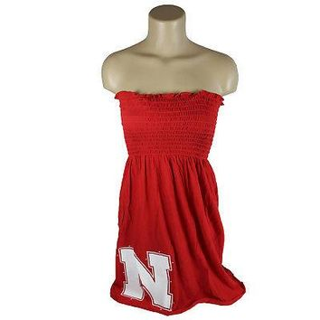 Licensed Nebraska Cornhuskers Official NCAA Strapless Smocked Dress W/ Large Logo KO_19_1